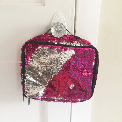 Rose Platinum Magic Sequin Lunch Bag