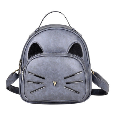 Vintage Cat Faux Leather Mini Back Pack - Smoke