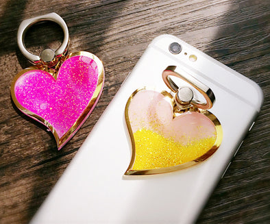 Glitter Heart Ring Phone Holder