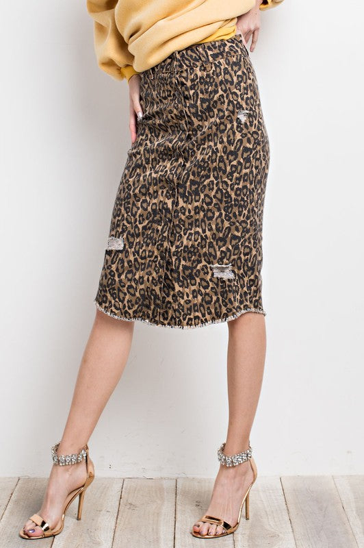Queen Of The Jungle DIstressed Pencil Skirt