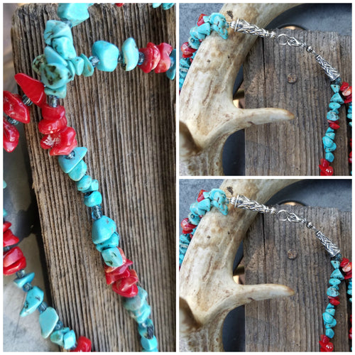 Double Strung Turquoise Necklace - Western Glamour