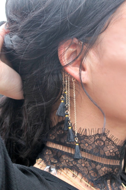 Cabaret Tasseled Ear Cuffs