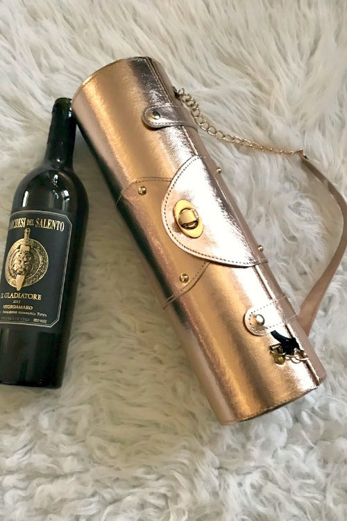 Rose Gold Hard Sided Wine Bag