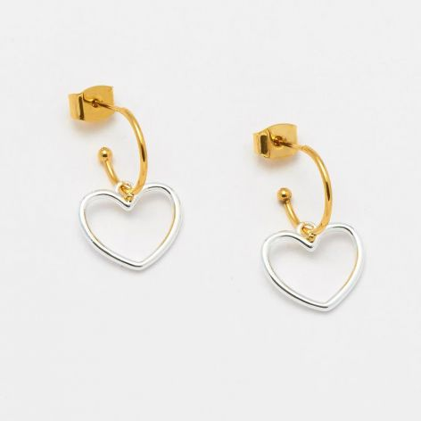 Earrings Mini Hoop Large Heart in Gold and Silver