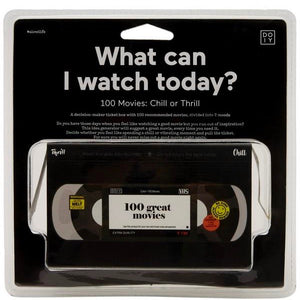 Idea generator 'what can I watch today' movie inspiration in black