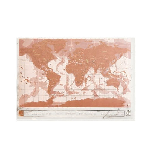 Rose gold scratch large travel map