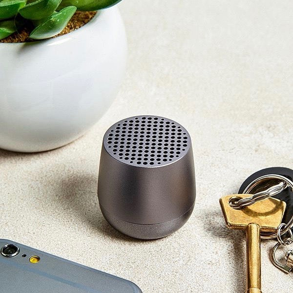 Ultra-portable bluetooth speaker in gunmetal grey