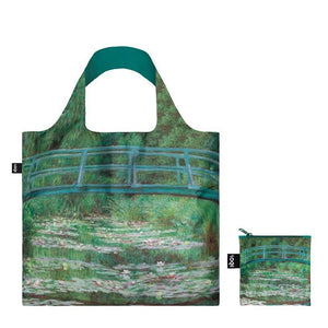 Foldable Tote bag with 'The Japanese Footbridge' artwork by Claude Monet in green