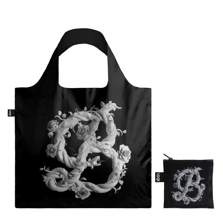 Foldable Tote bag with 'B for Beauty' artwork by Sagmeister & Walsh in black