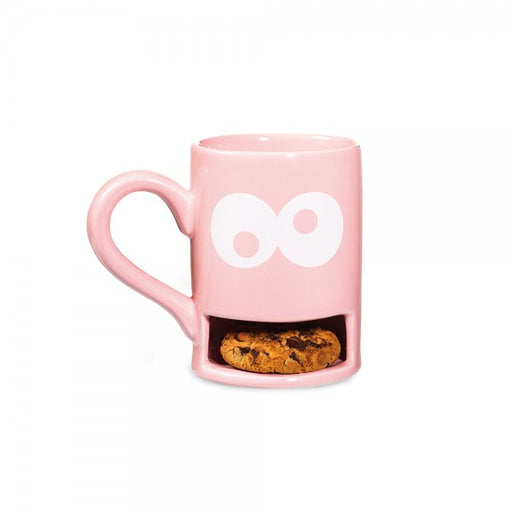Mug with biscuit holder slot monster cookie in pink