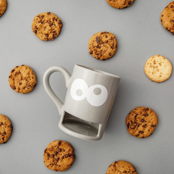 Mug with biscuit holder slot monster cookie in grey