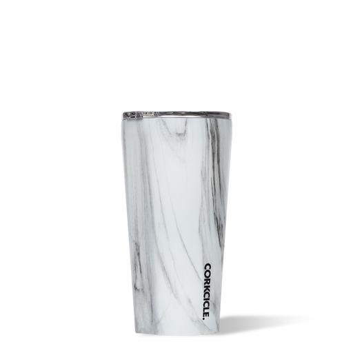 Corkcicle 16oz tumbler for hot and cold drinks in marble effect