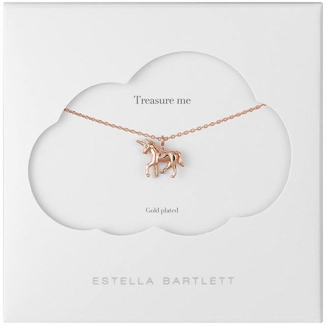 Necklace with a unicorn pendant in rose gold