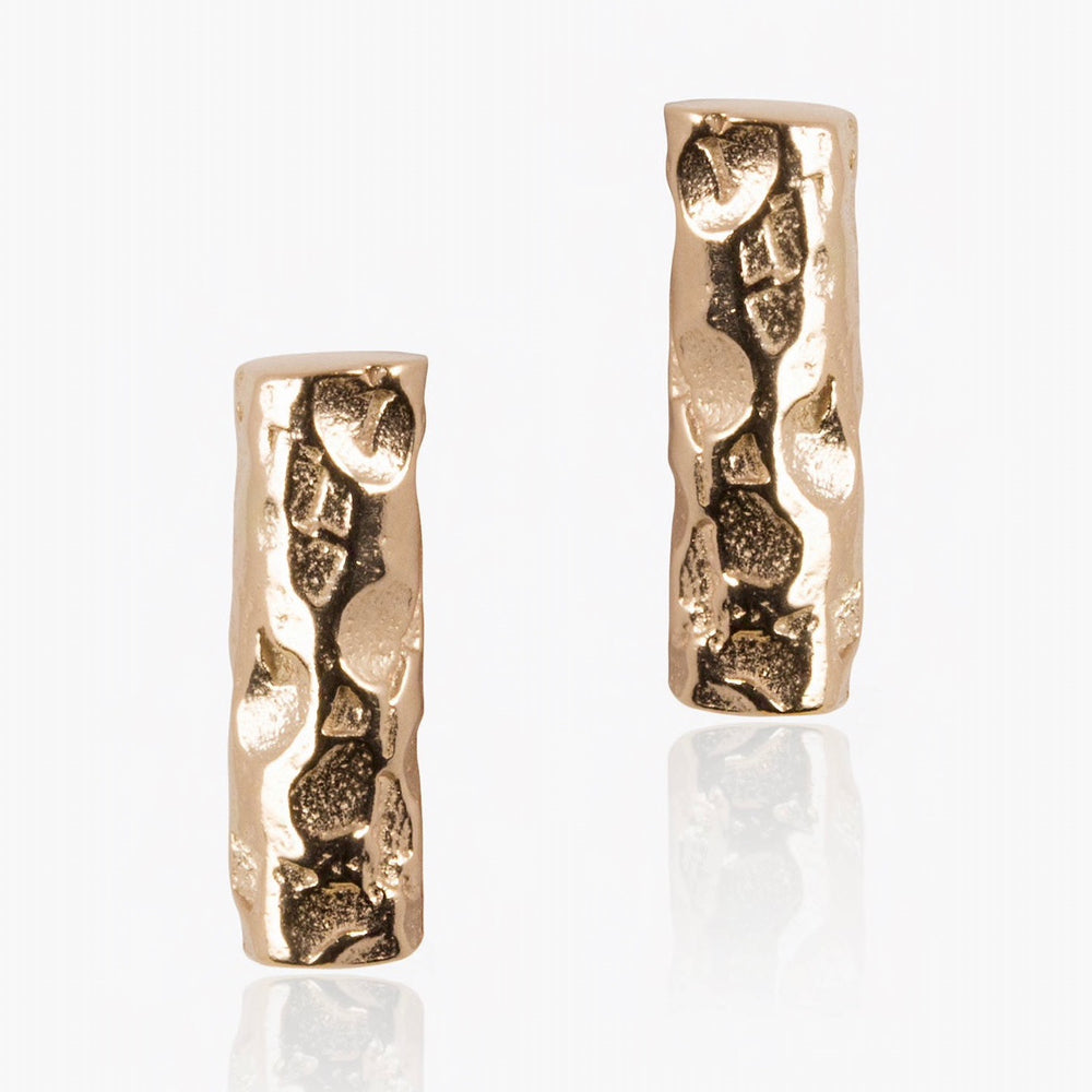 Stud earrings in gift bottle with meteor bar design from 18ct gold plate