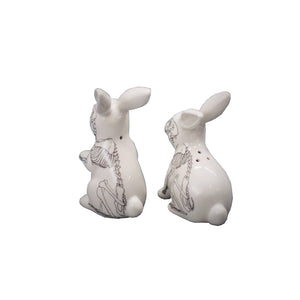 Salt and Pepper Shakers in Anatomical Rabbit shapes in white
