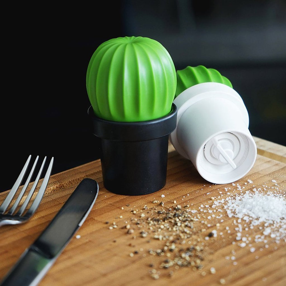 Salt Grinder or Pepper Grinder Cactus in Black and Green