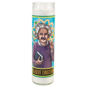 Load image into Gallery viewer, Tall votive candle with secular Saint 'Albert Einstein'