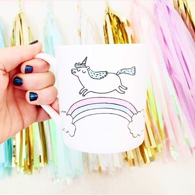 Load image into Gallery viewer, Mug with 'Magical Unicorn' in white by Gemma Correll