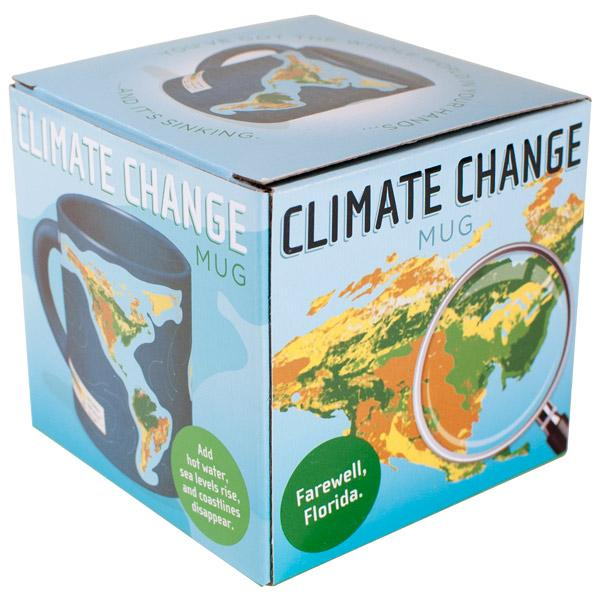 Mug with heat changing World Map of Climate Change in blue