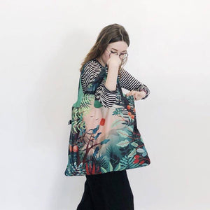 Foldable Tote bag with 'Arbaro' botanical artwork by HVASS&HANNIBAL in green