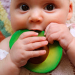 Baby teether toy Avocado in green made from natural rubber