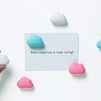 Magnets with clouds organise stationery set of 6 in blue, pink and white