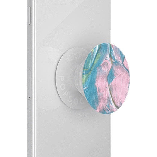 Mobile accessory expanding hand-grip and stand Popsocket in pastel paint strokes