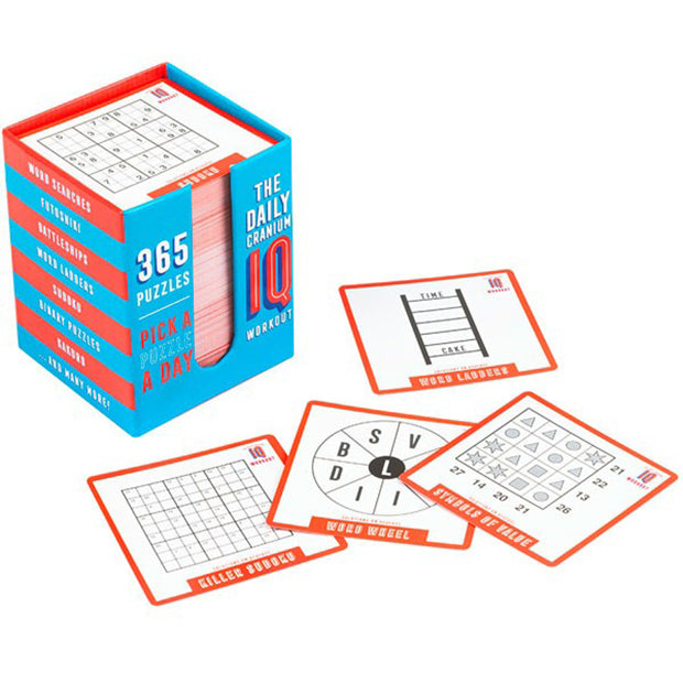 Game Quiz Brain Teasers Training Activities The Daily Cranium IQ Test 365 Puzzles in Blue And Red
