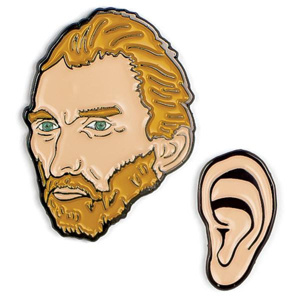 Two Enamel Pin Badge set with Vincent Van Gogh and his Ear