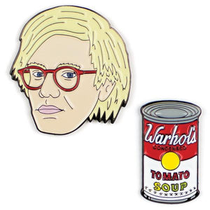 Two Enamel Pin Badge set with Andy Warhol and Campbell's Soup Tin