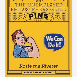 Pin Badge set Enamel Rosie The Riveter and 'We can do it!'
