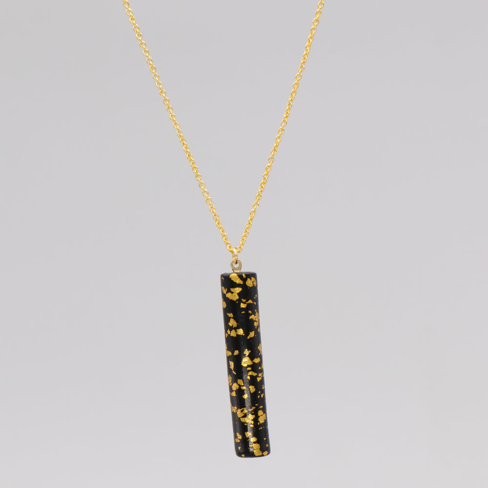 Gold leaf speckled bar pendant necklace