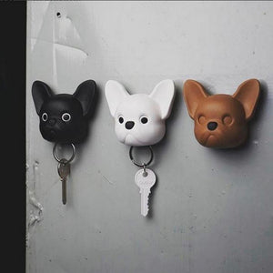 Dog key holder wall mounted Frenchy Dog in brown