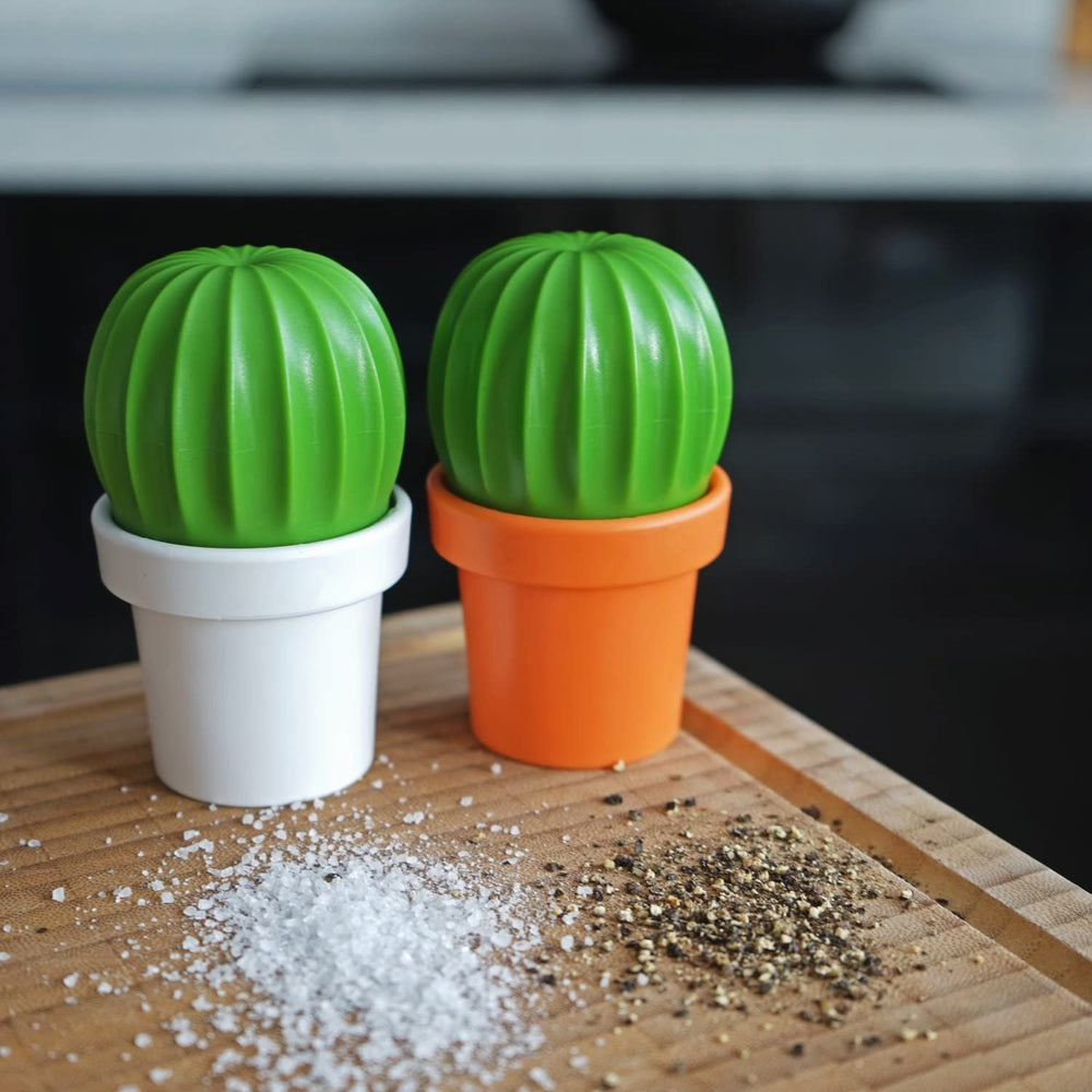 Salt Grinder or Pepper Grinder Cactus in Orange and Green