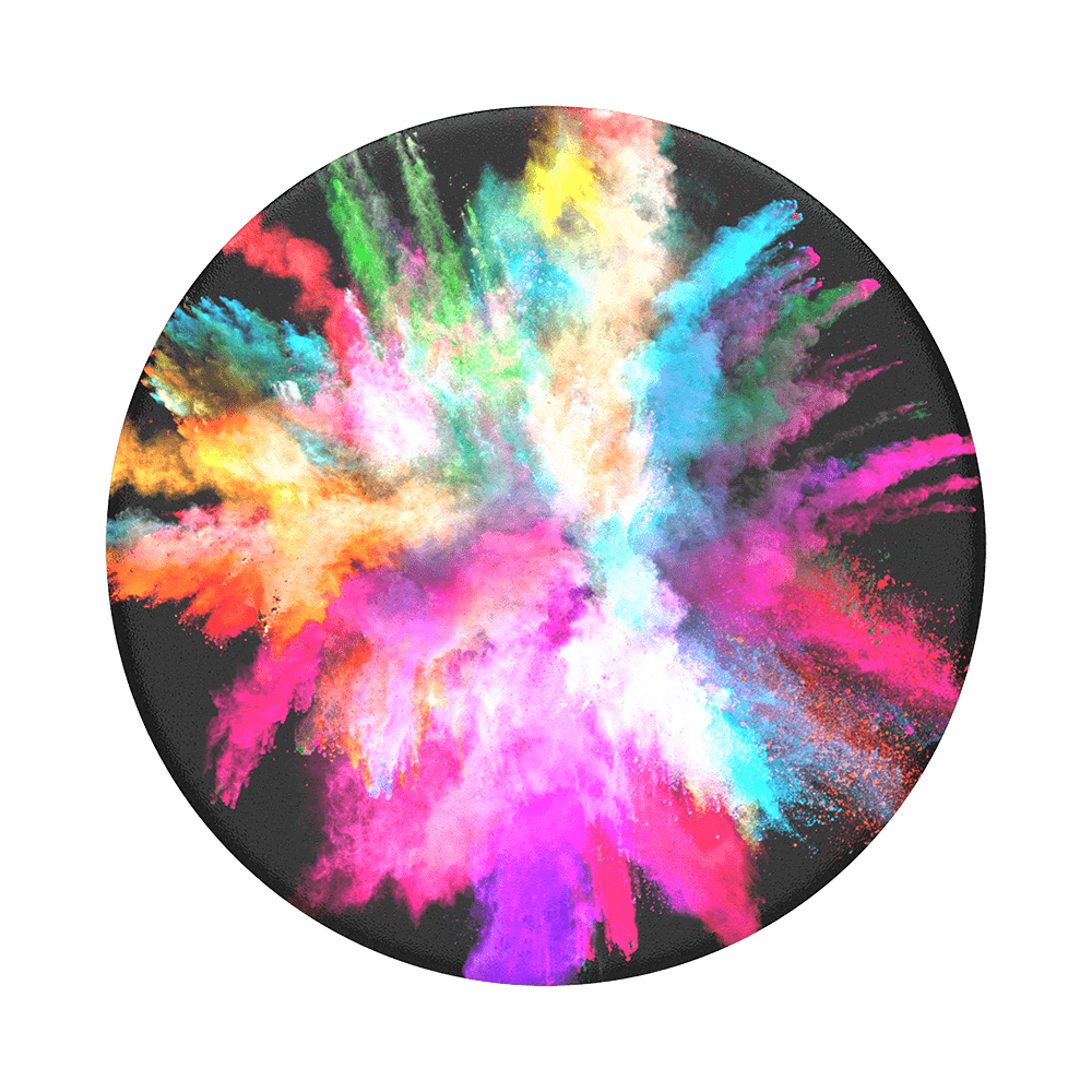 Mobile accessory expanding hand-grip and stand Popsocket in bursting streams of colour on black
