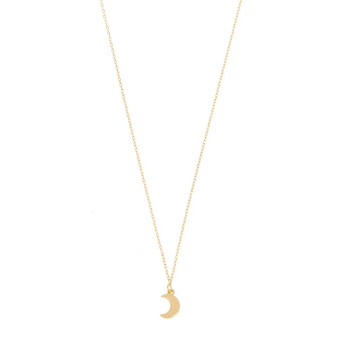 Necklace crescent moon pendant in gold