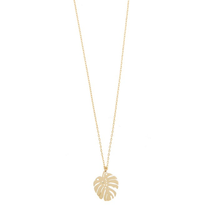 Leaf necklace monstera leaf pendant in gold