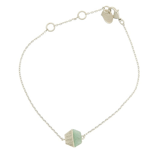 Bracelet with Hexagon half jade stone charm in silver