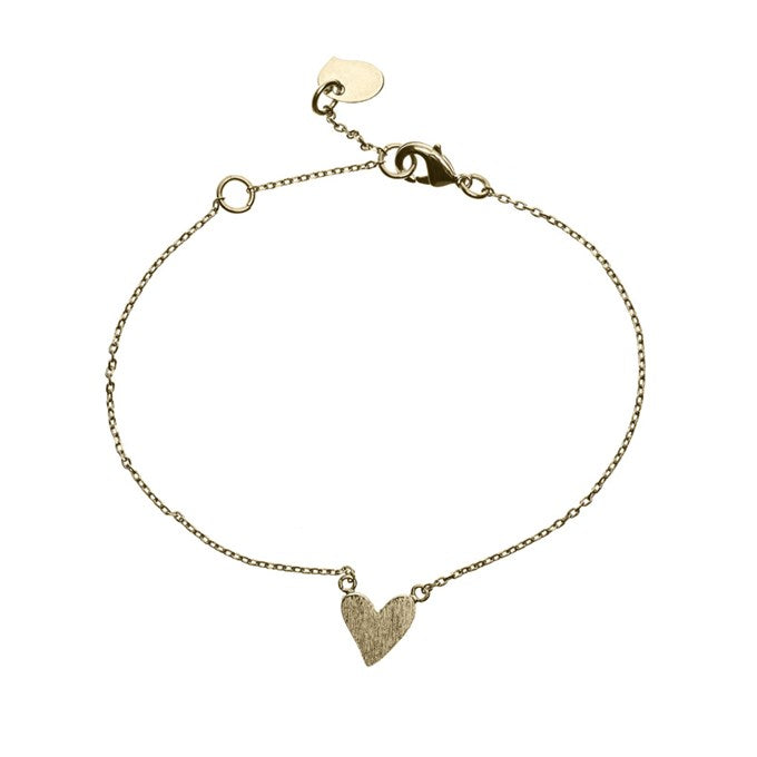 Bracelet with a irregular heart charm in gold