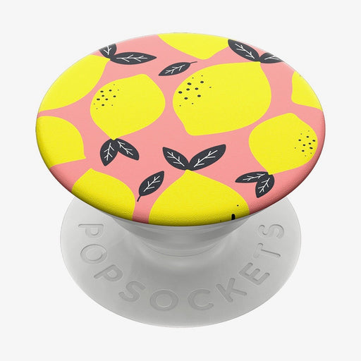 Mobile accessory expanding hand-grip and stand Popsocket in lemon illustration