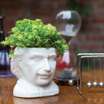 Plant Pot Albert Einstein Ceramic Mini Planter White