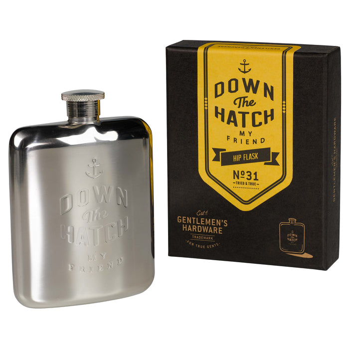 "Silver ""down the hatch"" hip flask Kitchen Wild & Wolf - Brand Academy Store"
