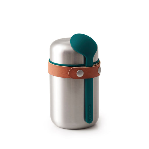 Insulated food flask with spoon from stainless steel in ocean blue