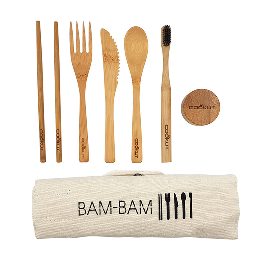 Cutlery eating set portable on the go with fold out roll case in bamboo