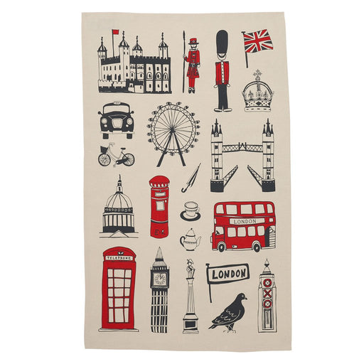 Tea Towel London 'Big Smoke' Personalised Gift Red White