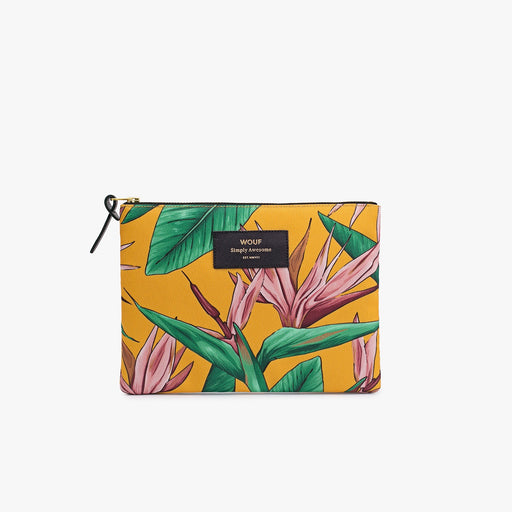 Pouch with Bird of Paradise orange print in large