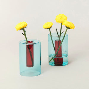 Glass Vase Reversible Blue and Red Small
