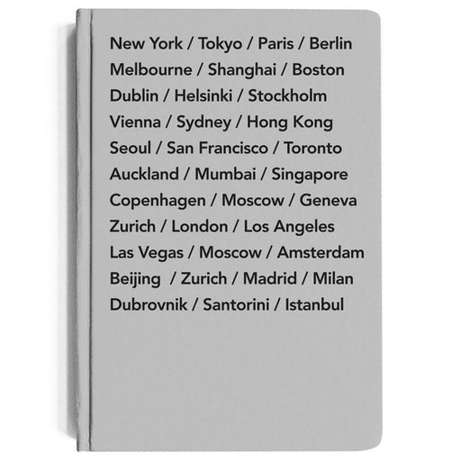 A5 Hardcover notebook with bucket list cities in grey