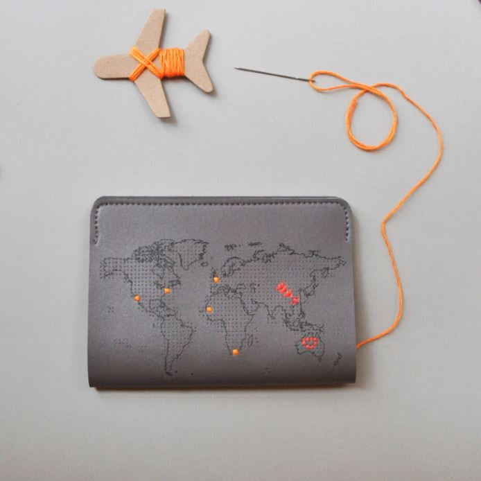 Stitch passport cover in grey Travel Maid In China - Brand Academy Store