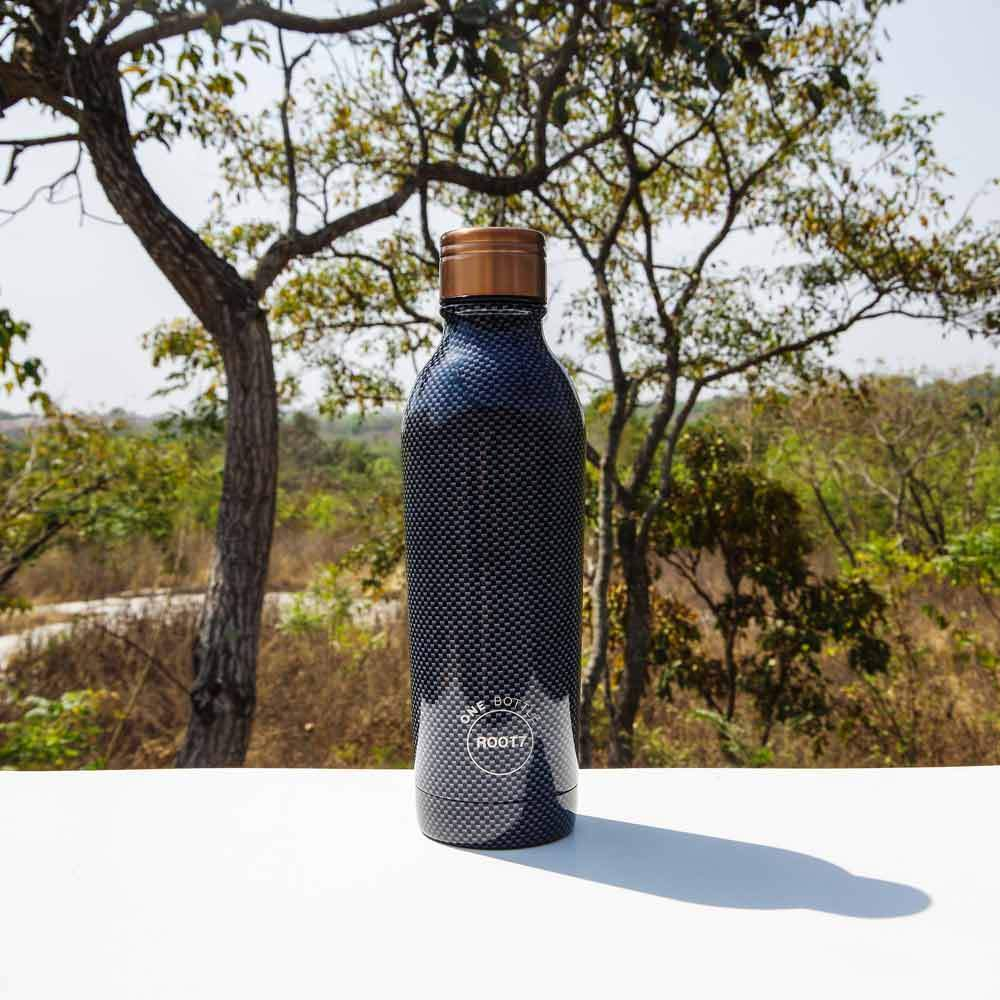 Insulated Water Bottle Carbon Fibre in Grey Black 500ml